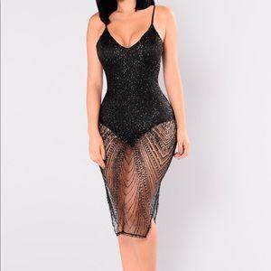 Black/Glitter Mesh Dress